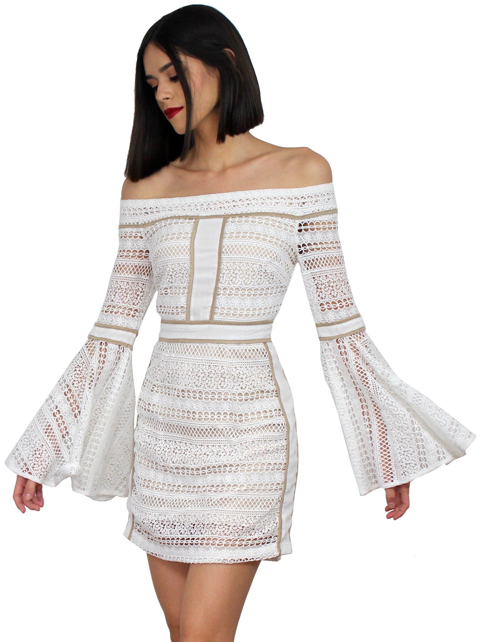 Yes to the Lace White Off Shoulder Dress
