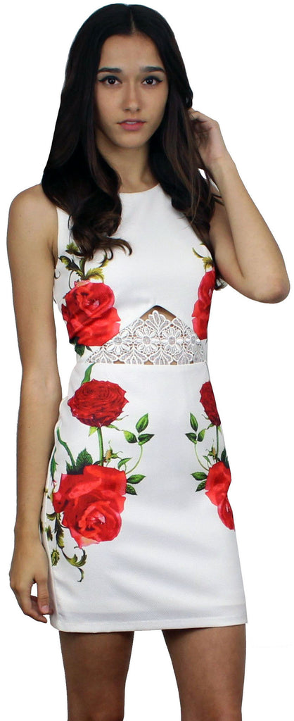 Just My Imagination Roses White Dress