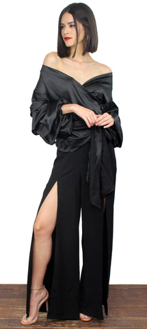 Step To It Black High Waist Palazzo Pants