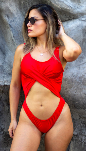 Sand a Letter Red Cutout One Piece Swimsuit