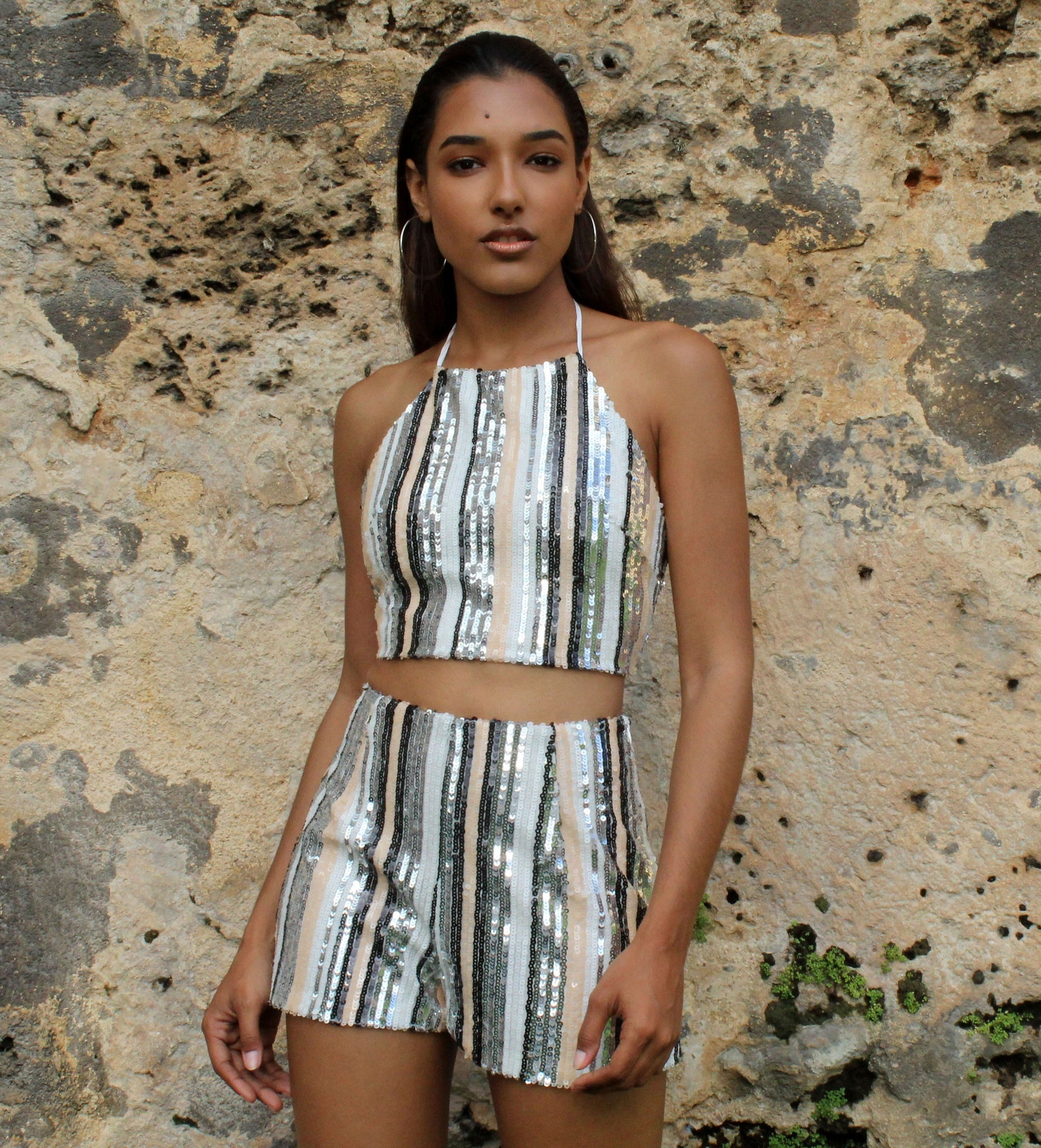 Shine On Me Sequins Stripes Two-Piece Set