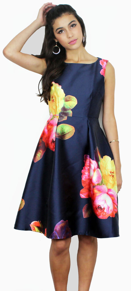 Bloom it May Concern Navy Floral Print Dress