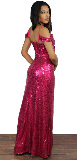 Here to Wow Berry Sequin Long Dress