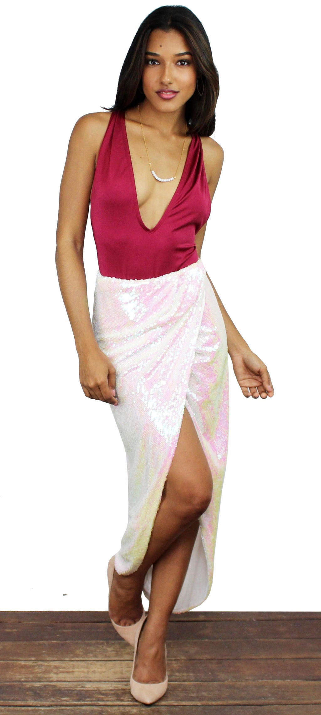 585a0848659 Effervescent White Litmus Sequin High Low Skirt