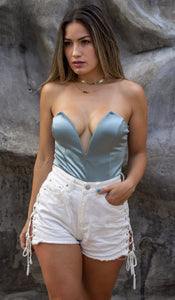 Flirty Feelings Seafoam Satin Bodysuit
