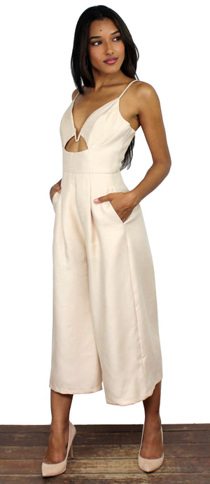 Lost in Love Nude Midi Jumpsuit