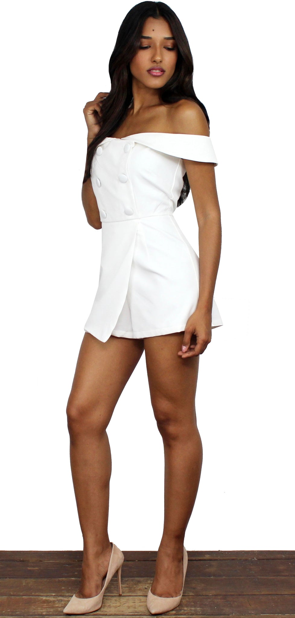 Alleyoop White Off-the-Shoulder Romper