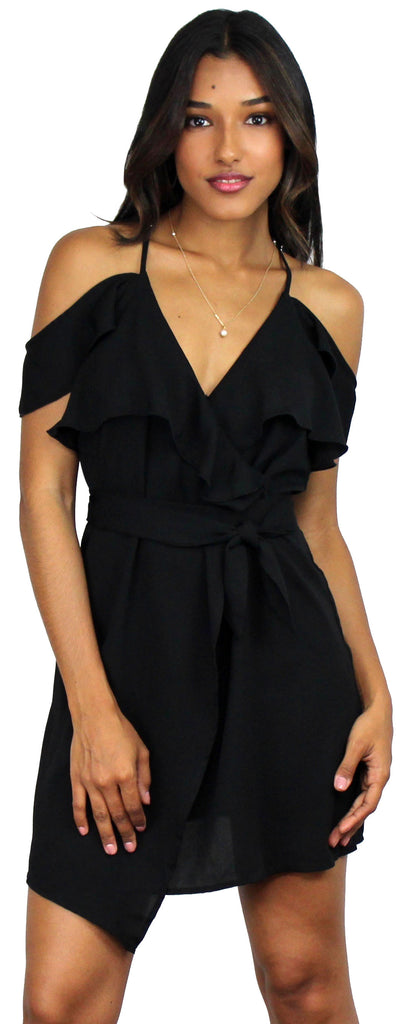 Callie Black Off-Shoulder Skater Dress