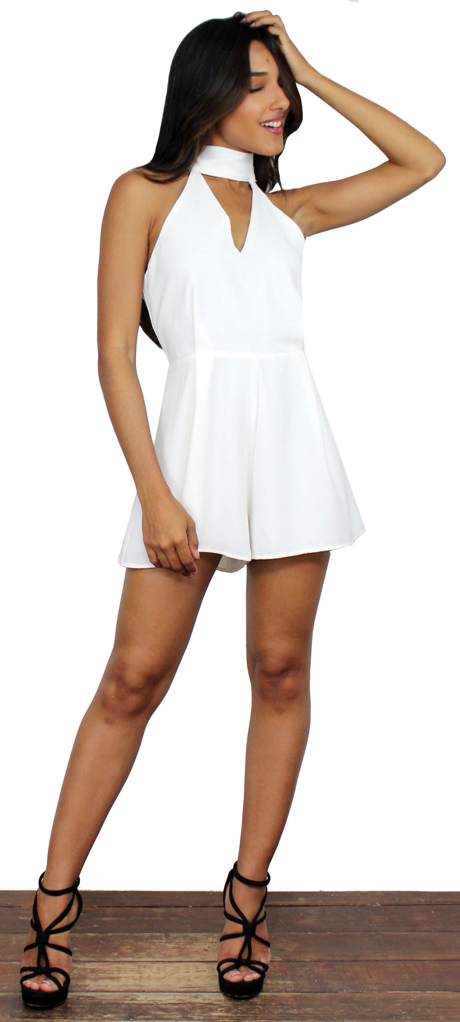 Ain't It Grand White Choker Romper