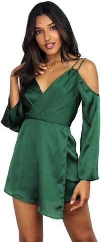 Sweet Belle Forest Green Satin Romper