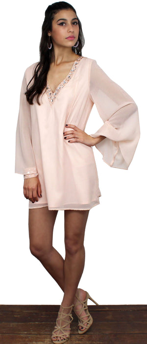Pretty in Blush Long Sleeves Dress