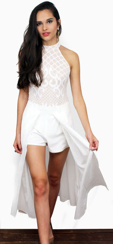 Neverland White High Waist Maxi Shorts