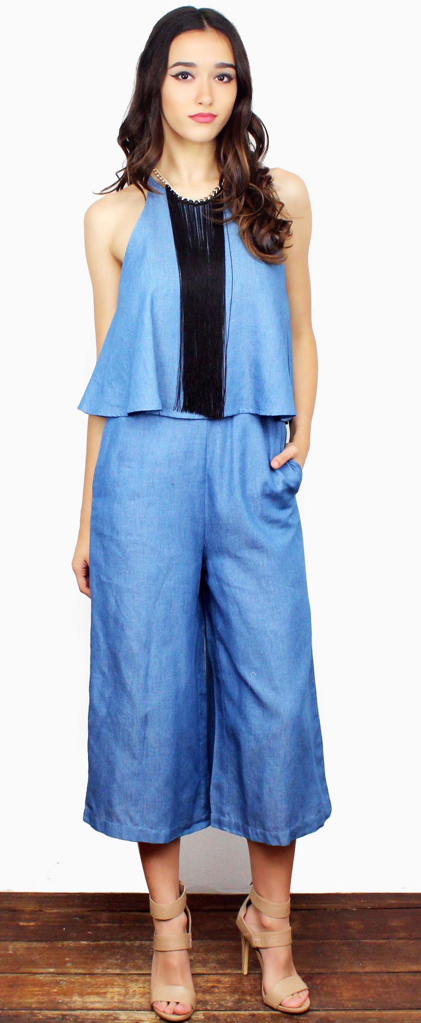 Such a Sweetie Denim Culotte Romper