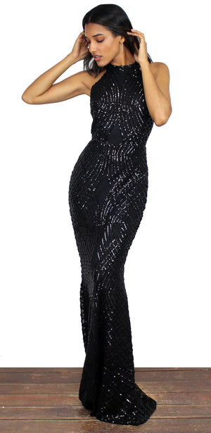 Party Favor Black Sequin Gown