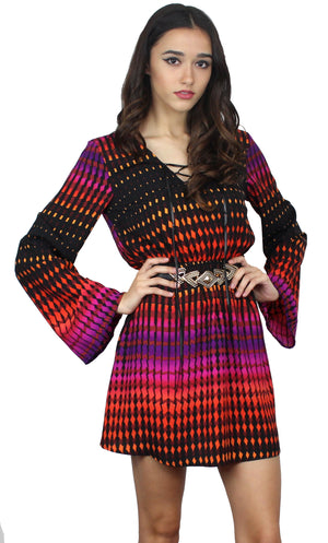 Sunrise Surprise Print Long Sleeves Dress