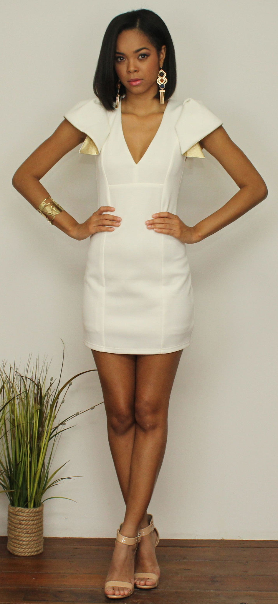 Love the Gold Sleeves Ivory Bodycon Dress