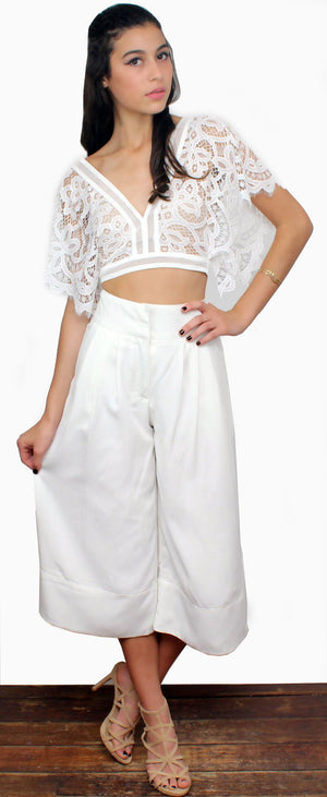 Beauty Queen White Lace Crop Top