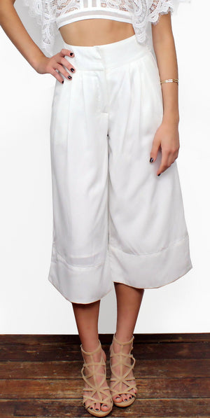 Glamorous City Streets White Culottes Pants