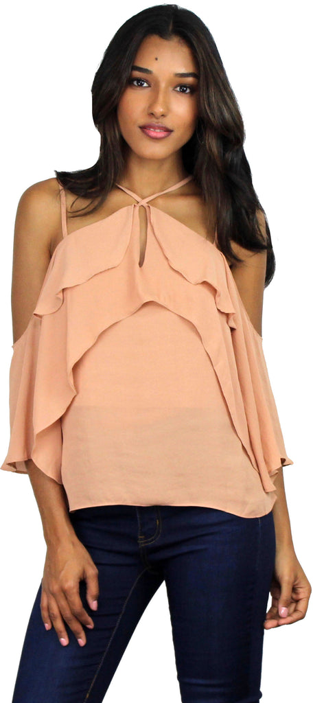 Essential Style Nude Ruffles Blouse