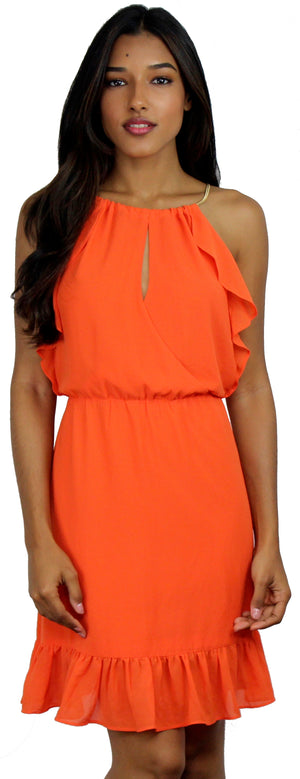 Orange Ruffle & Chain Dress