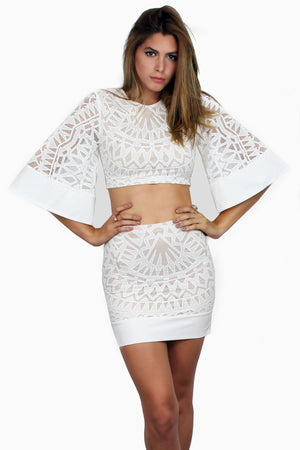 Sugar Dust White Lace Two-Piece Set