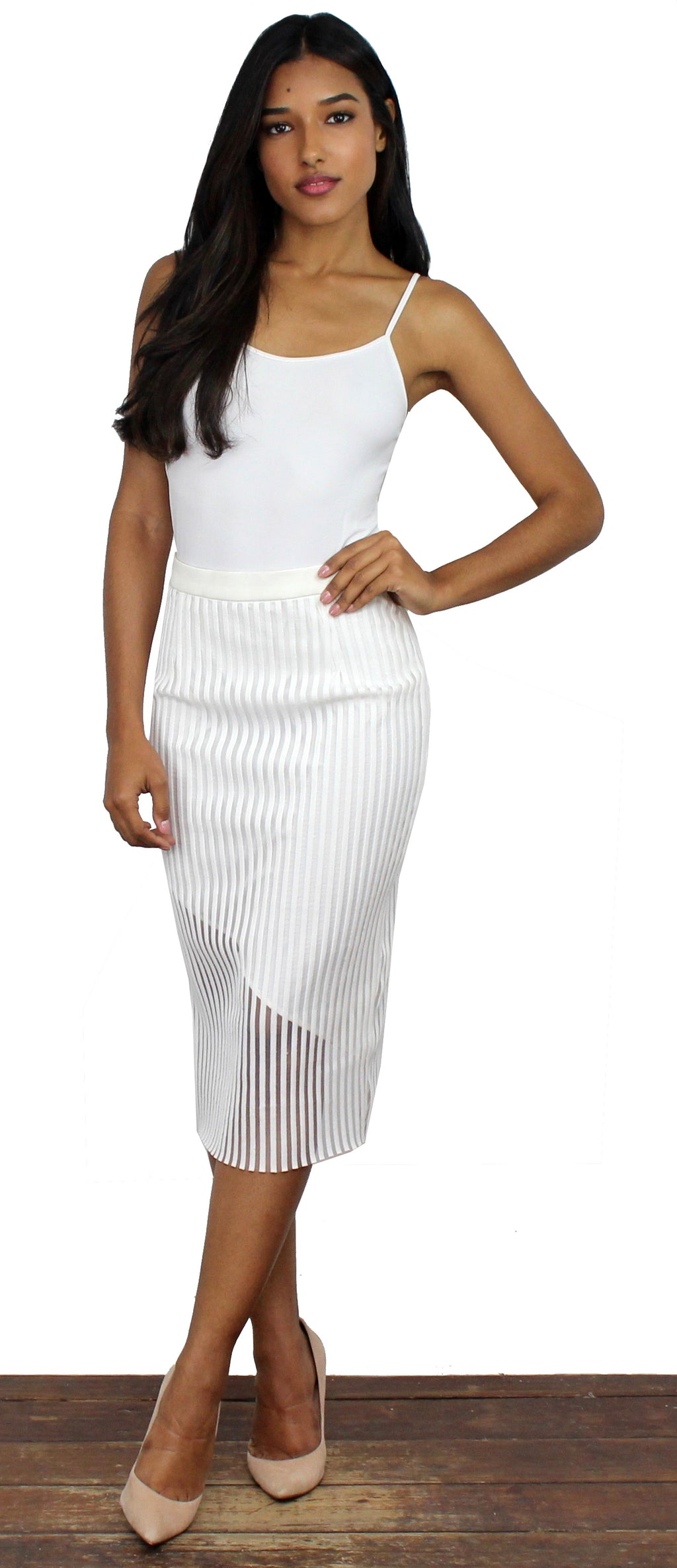 Get the Memo White Stripes Pencil Skirt