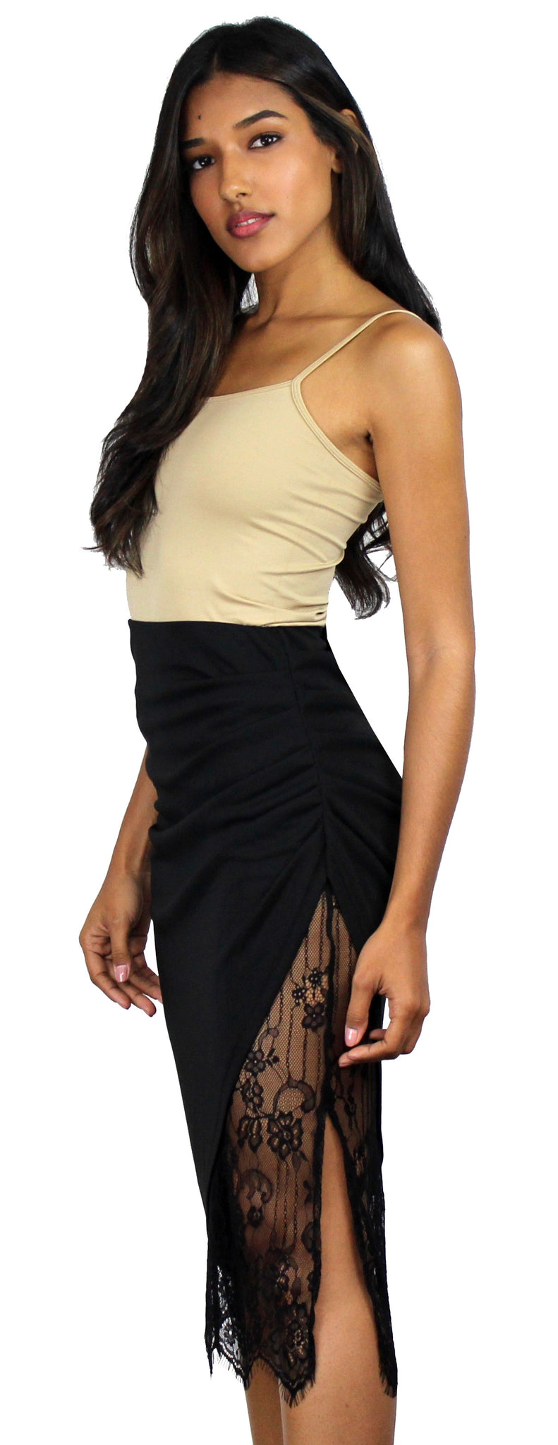 At Work Black Lace Pencil Skirt
