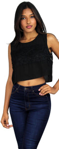Embroidery Black Crop Top