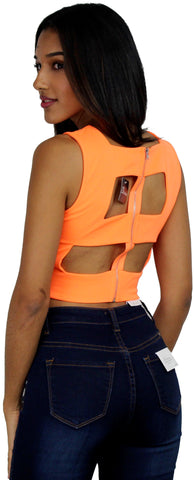 Orange Cutoff Back Crop Top