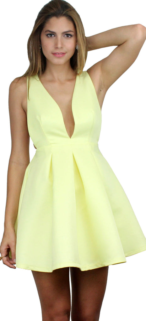 Sunny Centerpiece Yellow Flare Dress