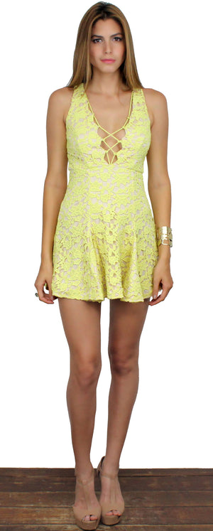 Play all Day Yellow Lace Dress