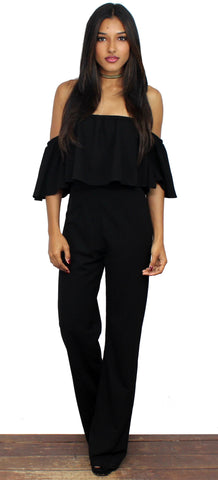 Ready For It Black Off-The-Shoulder Jumpsuit