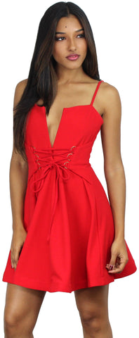 Forever Chic Red Fit & Flare Dress