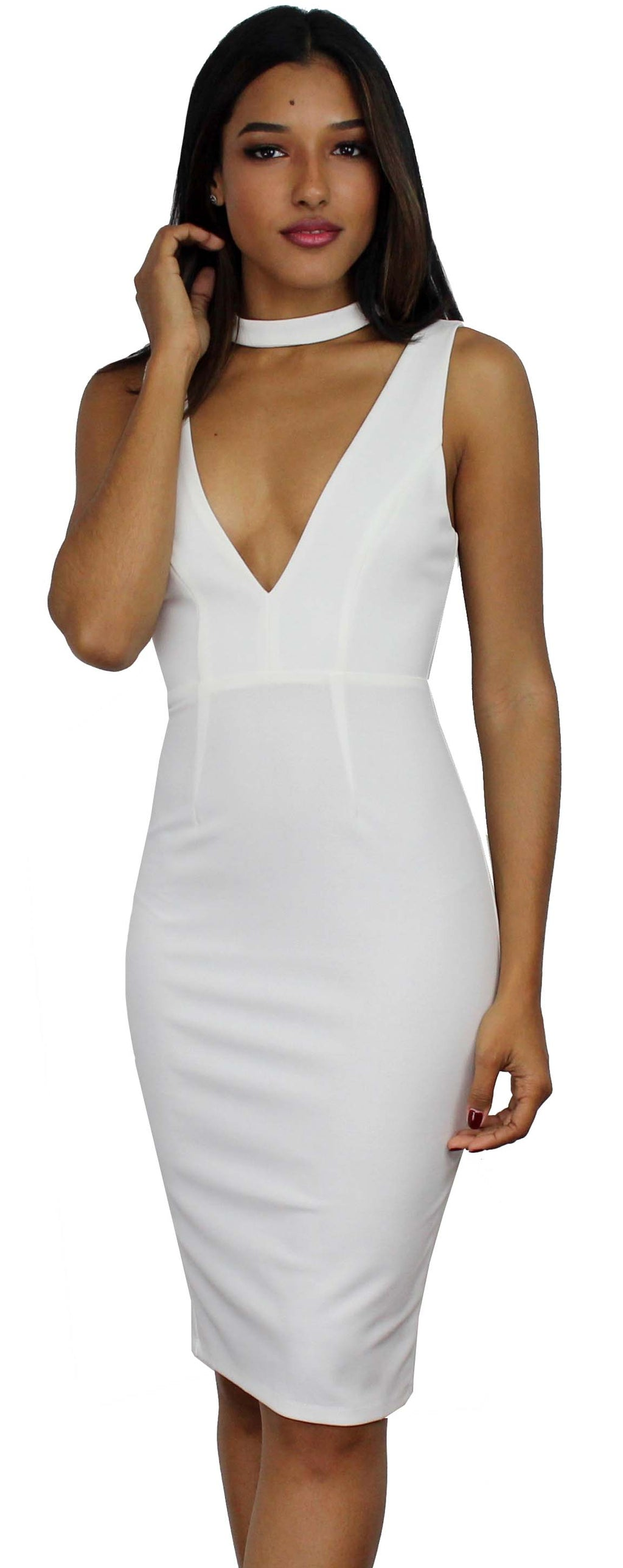 Bright Lights, Big City White Bodycon Midi Dress