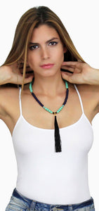 She's a Keeper Black & Turquoise Necklace