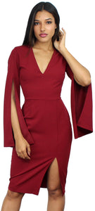 I Promise Wine Long Sleeves Midi Dress