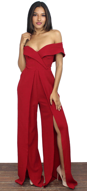 Chic To Me Wine Off-The-Shoulder Jumpsuit