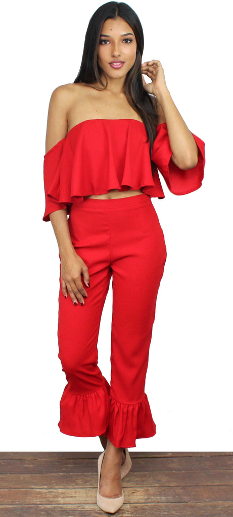 Vision of Love Red Ruffles Two-Piece Set