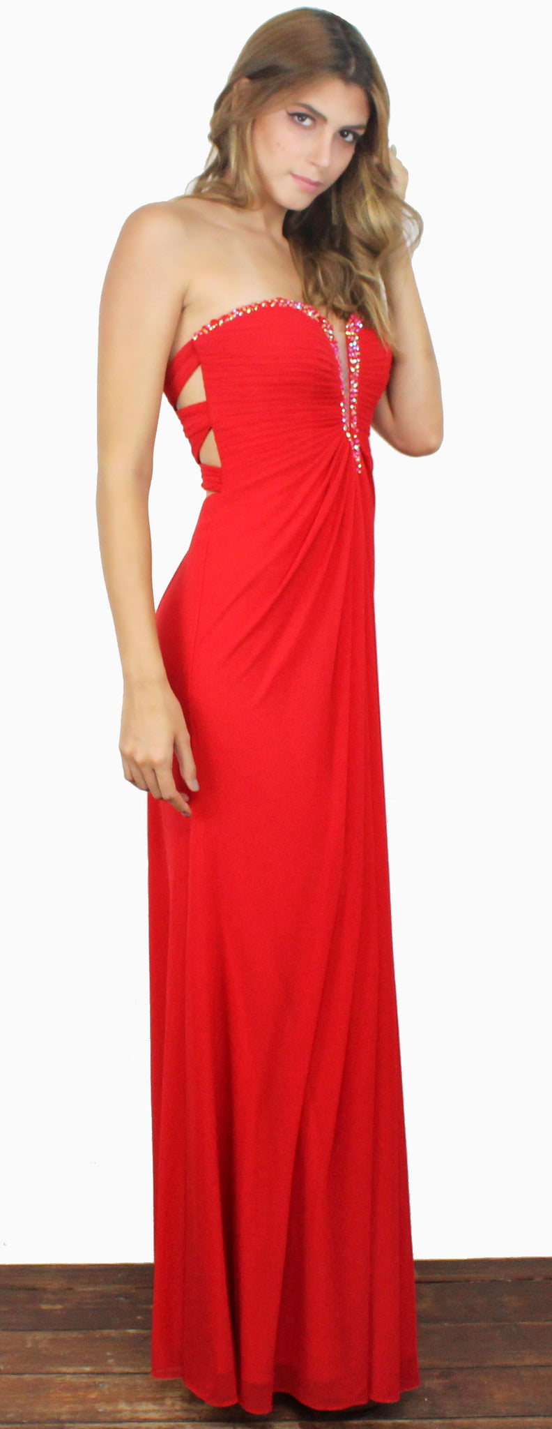 Red Queen Strapless Gown