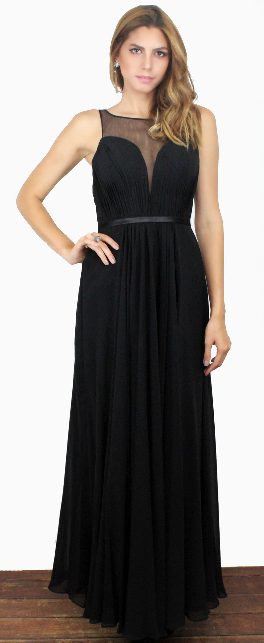 Looking Glass Black Draped Gown
