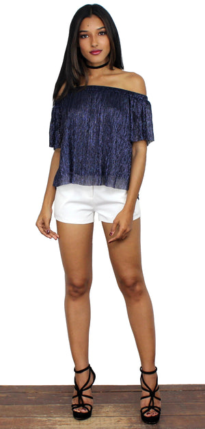 Born to Stun Navy Shimmer Off-the-Shoulder Top