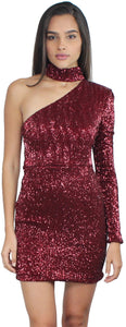 Light Up the Night Wine Sequin Dress