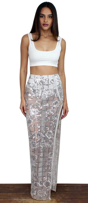 Get Kim's Looks in Silver Sequins Two-Piece Set