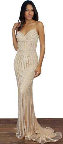 Elegant Encounter Gold Formal Gown