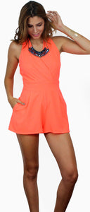 Is that Love for Neon Coral Romper