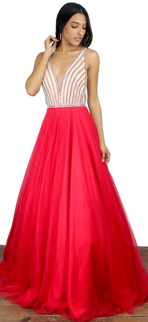 Power of Wow Red Mesh Formal Gown