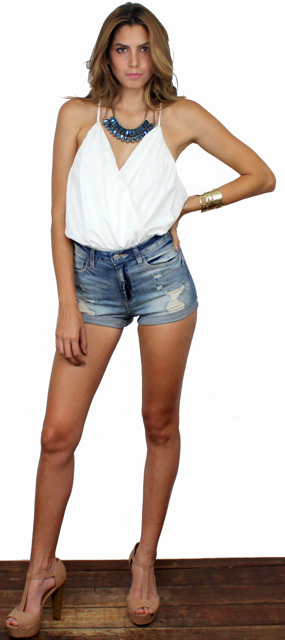 Summer Sky High Waist Denim Shorts