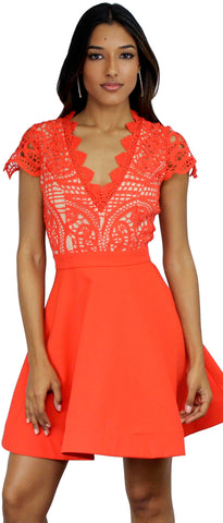 Daisy Date Coral Lace Fit & Flare Dress