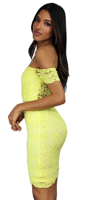 Love Poem Yellow Lace Midi Dress