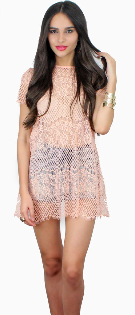 Cheer to Stay Peach Lace Tunic